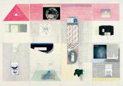 großes Haus, 2011, Bleistift/Buntstift/Wachsstift/Collage/Papier, 70 x 100 cm
