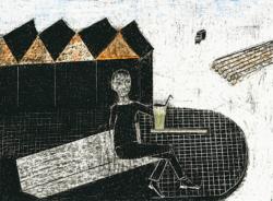 gelbe Limo, 2014, Wachsstift/Papier,30 x 42 cm
