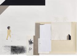 ein Haus im Sinn #16, 2018, Bleistift/Papier/Collage,85 x 118,5 cm