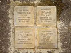 Saarbrücken, Demnig, Stolperstein, Blum, Salomon und Ida; Peiser, Ernst und Erna