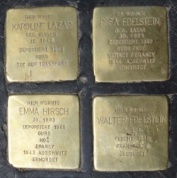 Saarwellingen, Demnig, Stolperstein, Lazar, Karoline; Edelstein, Rosa; Hirsch, Emma; Edelstein, Walter