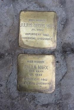 Schmelz, Demnig, Stolperstein, Marx, Julius Georg und Paula
